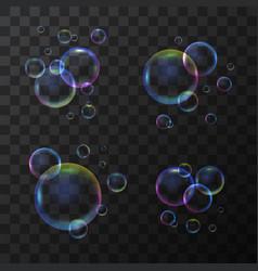 realistic 3d detailed soap bubble set on a vector image