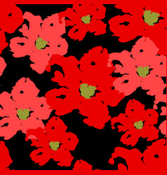 red poppy seamless summer pattern on black vector image