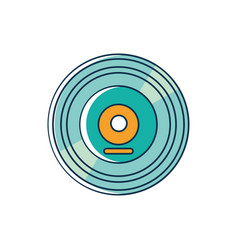 retro vinyl disk melody sound music line and fill vector image