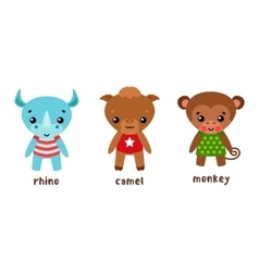 Rhino and camel monkey or ape cartoon characters vector image