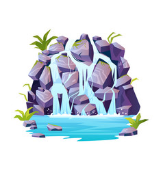Rocky hill fountain scene with plants isolated vector