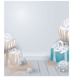 room with chrismas gifts vector image
