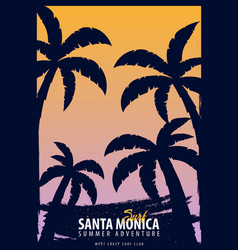 Santa monica surfing graphic with palms t-shirt vector