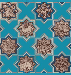 Seamless pattern in the form of persian tiles vector