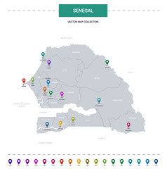 Senegal map with location pointer marks vector