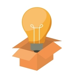 silhouette packing open with light bulb vector image
