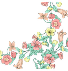 spring doodle flowers vector image