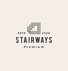stair way hipster vintage logo icon vector image