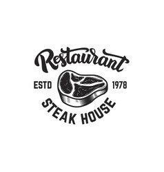 steak house cutted meat and crossed meat cleavers vector image