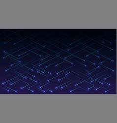 Technology lines with glowing particles on blue vector