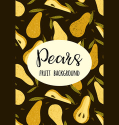 template with pears trendy hand drawn vector image