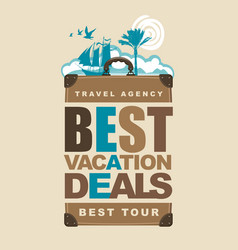 travel banner with suitcase sun and vector image