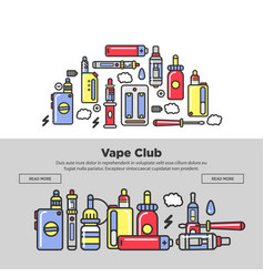 vape club promotional posters with devices and vector image