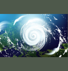 View a huge hurricane from space vector