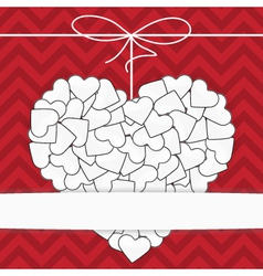 White heart on a red background template vector