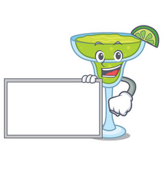 With board margarita character cartoon style vector