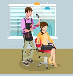 woman in beauty salon at hairdresser vector image
