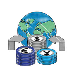 World arrows currency yen euro dollar money vector