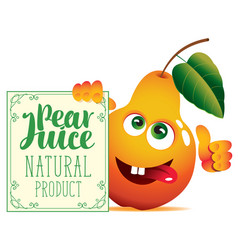 banner for pear juice with a cute character pear vector image vector image