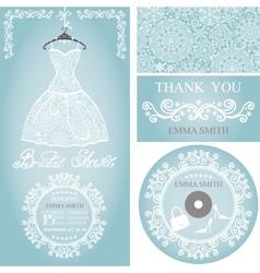 Bridal shower invitation setwinter weddinglace vector