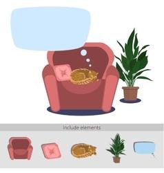 Cat sleeping in armchair vector image