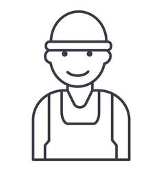 laborworkerbuilder line icon sign vector image