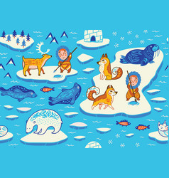 north pole seamless pattern with wild animals vector image
