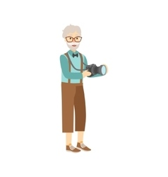 Old Man In Hipster Fashion Clother With Camera vector image vector image