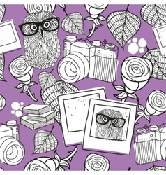 Seamless pattern for coloring with smart owls and vector image