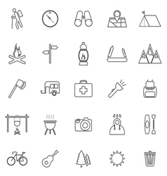 Trekking line icons on white background vector image