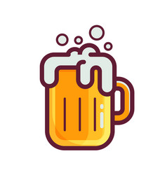 yellow beer glass icon vector image vector image