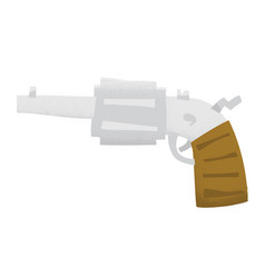 cartoon style grunge revolver gun isolated vector image vector image