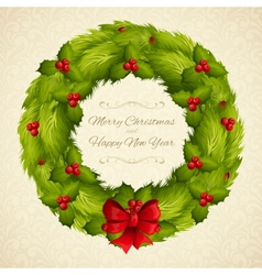Christmas wreath postcard vector image vector image