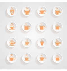 coffee Mug Icons button shadows set vector image