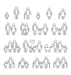 Family human thin line outline icons vector image vector image