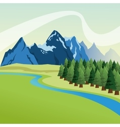 Landscape with pine trees and mountains design vector image vector image