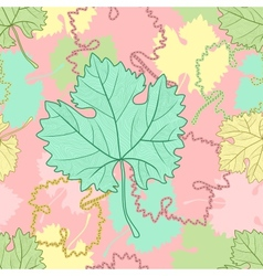 seamless pattern with grape leafs vector image vector image