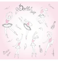 Set ballet dancers hand drawn background vector image vector image