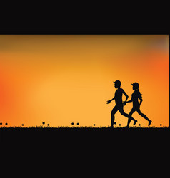silhouettes of couple runners with beautiful sky vector image