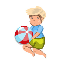 small boy playing with a ball vector image