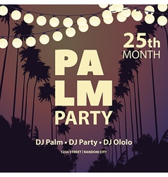 Summer Night party with garlands and palm trees vector image