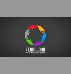 teamwork business hands logo design vector image vector image