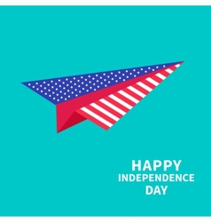 Big paper plane Dash line Happy independence day vector image vector image
