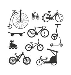 Bike black silhouette mountain ride vector image vector image