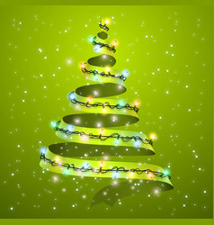 christmas tree ribbon on background glowing vector image vector image