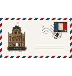 envelope with a postage stamp with Louvre vector image