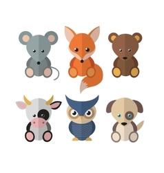 Flat set animals vector image
