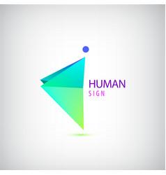 geometric origami man logo sign leader vector image vector image