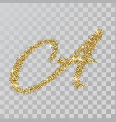 gold glitter powder letter a in hand painted style vector image
