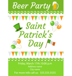 happy st patrick s day invitation poster flyer vector image vector image